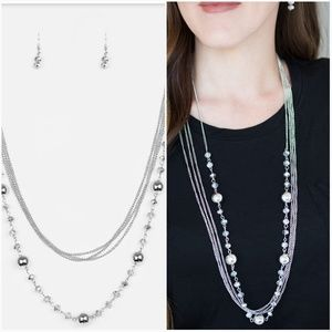 HIGH STANDARDS SILVER NECKLACE/EARRING SET